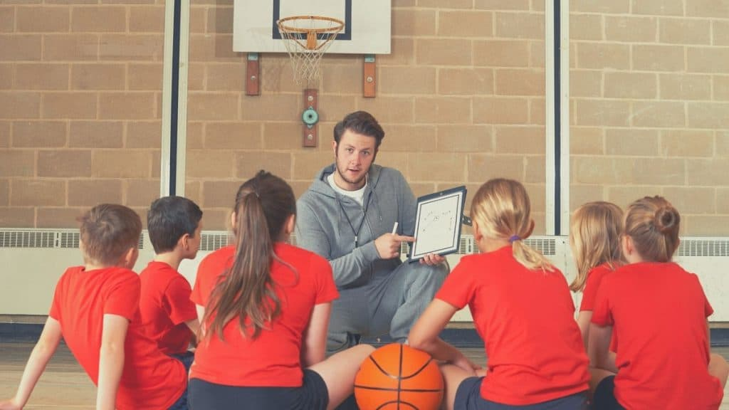 Basketball Basic Rules. basketball teacher in front of students
