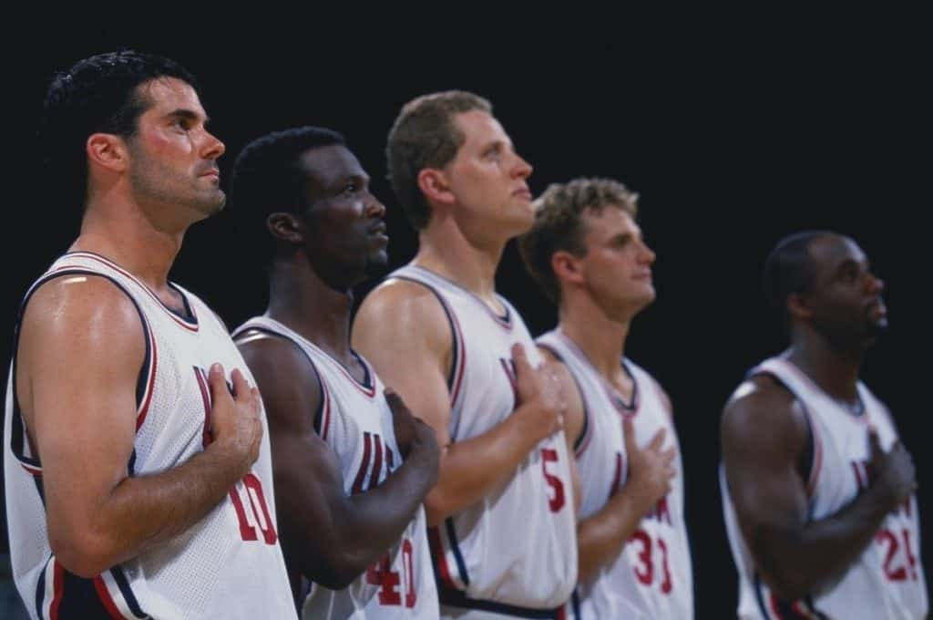 basketball players during national anthem